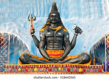 HYDERABAD,INDIA-NOVEMBER 17:Hindu God Shiva idol in kailash setting during karthika deepam ustav  lighting 1 crore lights on November 17,2016 in Hyderabad,India