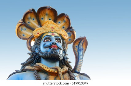 HYDERABAD,INDIA-NOVEMBER 21:Closeup of Hindu God Shiva idol  in karthika deepam ustav event lighting 1 crore lights event on November 21,2016 in Hyderabad,India