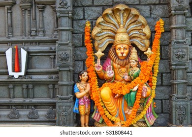 HYDERABAD,INDIA-NOVEMBER 21:Hindu God Narasimhavatar idol on a Mobile temple karthika koti deepam lighting 1crore lights event on November 21,2106 in Hyderabad,India.