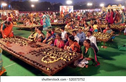 HYDERABAD,INDIA-NOVEMBER 21:Hindus pray Shiva and participate in karthika deepam ustav event lighting 1 crore lights on November 21,2016 in Hyderabad,India