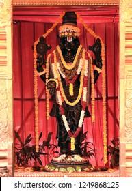 HYDERABAD,INDIA-NOVEMBER 23:View of Hindu God Balaji or Venkateswara idol in a temple on November 23,2018 in Hyderabad,India