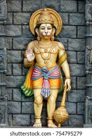 HYDERABAD,INDIA-NOVEMBER 5:statue of Hanuman as in Ramayana Epic and Mythology,in blessing pose,in a temple on November 5 ,2017 in Hyderabad,India