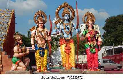 HYDERABAD,INDIA-NOVEMBER 5:Statues of Hindu God Sri Rama with Sita,lakshmana and Hanuman in outdoor temple set to perform prayers on November 5 ,2017 in Hyderabad,India
