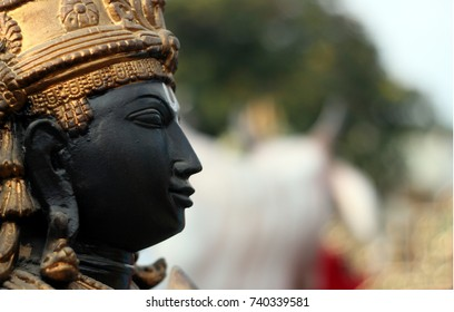 HYDERABAD,INDIA-OCTOBER 22:Closeup of idol of Hindu God Balaji or venkatesa or venkateswara,most popular and believed,and his is second in world's richest temples on October 22,2017 in Hyderabad,India