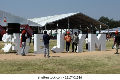 HYDERABAD,INDIA-OCTOBER 28 :People stand at symbol of Bharatiya Janata Yuva Morcha or BJYM,wing of BJP, present ruling party of India in a convention  on October 28,2018 in Hyderabad,India