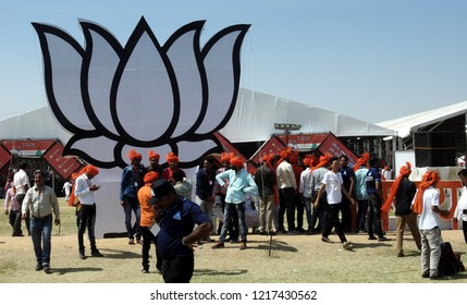 HYDERABAD,INDIA-OCTOBER 28 : View of Indian people at Lotus,party symbol  of Bharatiya Janata party or BJP, present ruling party in a  convention  on October 28,2018 in Hyderabad,India