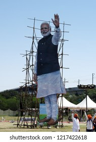 HYDERABAD,INDIA-OCTOBER 28 : View of Indian Politician Cut Out of Narendra Modi,present prime Minister of India, of Bharatiya Janata party in a  convention  on October 28,2018 in Hyderabad,India