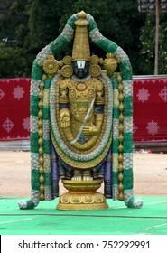 HYDERABAD,INDIA-OCTOBER 28:Statue of Hindu God Sri Balaji or venkateswara in standing position and blessing pose on October 28,2017 in Hyderabads,India.
