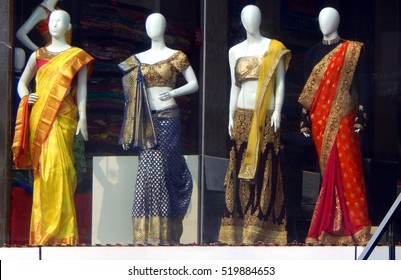 1d7f2e55ea HYDERABAD,INDIA-OCTOBER 30:Mannequins dressed in latest fashion dress stand  in front