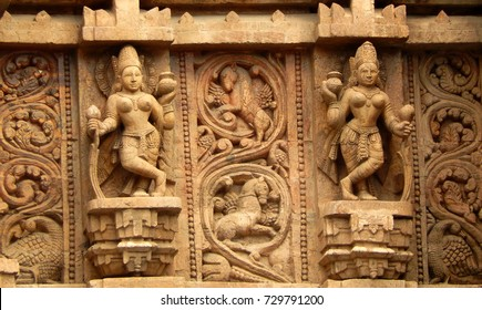 HYDERABAD,INDIA-SEPTEMBER 15:Architectural details of Indian traditional and cultural dancers  in Jagannath Temple on September 15,2017 in Hyderabad,India