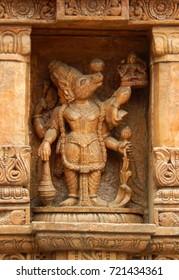 HYDERABAD,INDIA-SEPTEMBER 15:Wall art of Hindu God varaha avtar of Vishnu Dashavatara, in Jagannath Temple on September 15,2017 in Hyderabad,India
