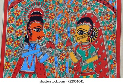 HYDERABAD,INDIA-SEPTEMBER 18:Closeup of madhubani Indian popular painting form for sale in the market on September 18,2017 in Hyderabad,India
