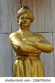HYDERABAD,INDIA-SEPTEMBER 21:Statue of Swami Vivekananda on the tankbund road on September 21,2018 in Hyderabad,India