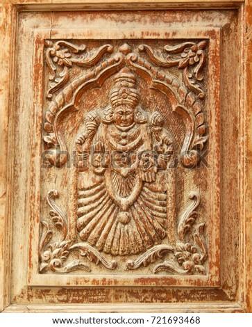 Hyderabadindiaseptember 21 wooden carving hindu goddess lakshmi