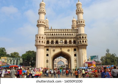 Hyderbad, Telangana/India - 01 Jan 2020: Charminar, the most tourist place in Hyderabad and Hyderabad famous heritage is busy with full of tourists.