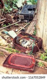 Hydra Greece 01/03/2005: old radios discarded in doorway broken exposing the inner workings