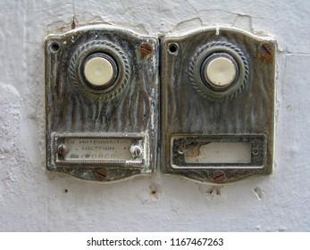 Hydra Greece 01/03/2005: two doorbells on wall