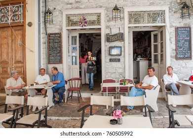 HYDRA, GREECE - MAY 30: Outdoor restaurant in the harbor on May 30, 2009 in Hydra. Hydra is a Greek island in the Aegean sea popular with tourists.