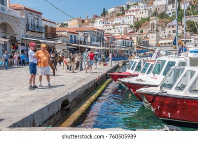 HYDRA, GREECE - MAY 30: Tour boats moored in the harbor on May 30, 2009 in Hydra. Hydra is a Greek island in the Aegean sea popular with tourists.