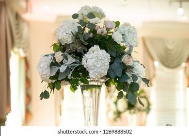 Hydrangea Floral centerpiece arrangement at wedding reception