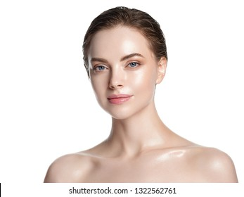 Hydration skin woman beauty healthy clean skin face beautiful model neck and shoulders isolated on white