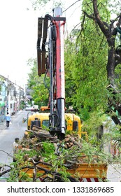 A hydraulic crane truck to pick up debris tree branches from a tree that was cut down. Tree service in asia city.