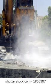 Hydraulic Excavator during demolition