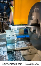 hydraulic lathe at work in a metalworking industry