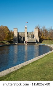 The hydraulic lift locks in Peterborough Ontario are part of the Trent - Severn waterway and are a national historic site of Canada.