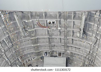 Hydraulic lines, cableforms and other technology under the bodyshell of a great and very modern miltary transport airplane of the German airforce - Wunstorf, district of Hanover, Northern Germany