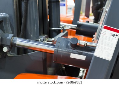 Hydraulic part in Forklift Truck ; selective focus