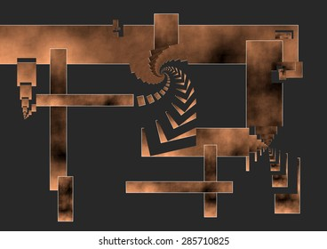 Hydraulic press,Abstract digital art, Hammer used in river mills to hit wool, spirals joining the tool with the product of his work, dark background and copper colors degraded, abstract expressionist