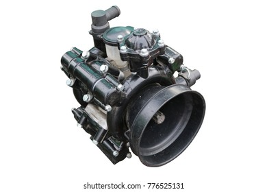 Hydraulic pump. High-pressure water pump. Isolated on white.