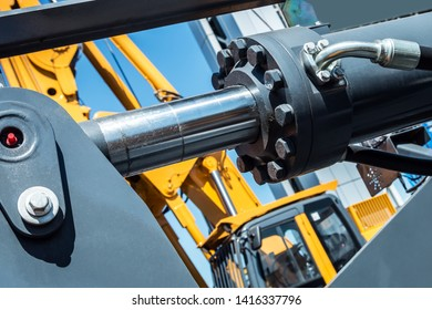 hydraulic system of tractor or excavator. Details and parts of construction and repair equipment