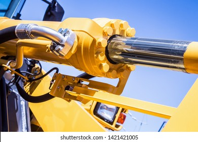 hydraulic system of tractor or excavator and other construction machinery. parts and details of construction and repair equipment