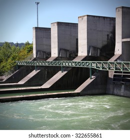 Hydro electric power plant on Traun river in Marchtrenk, Austria. Alternative energy source.