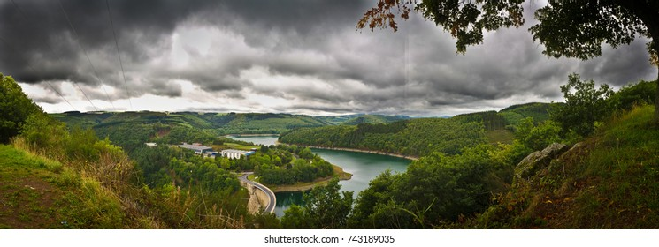 Hydro electric power-plant in Luxembourg. Panoramic overview