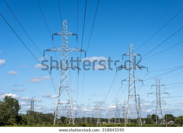 Hydro electric transmission towers in a hydro right of way in Niagara Ontario Canada.