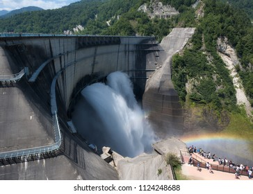 hydroelectric power dam of Kurobe in Japan.