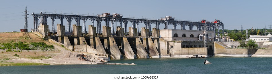 Hydroelectric power plant at Dniester river near Dubasari, Moldova. High resolution panorama