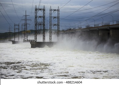 Hydroelectric power plant on the Volga. Water dumping