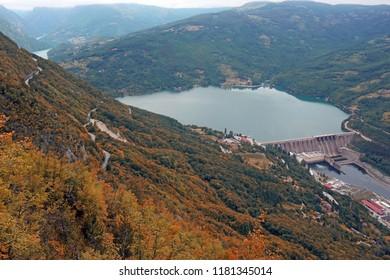 hydroelectric power plant Perucac on Drina river autumn season landscape Serbia