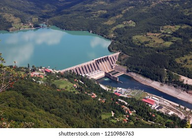 hydroelectric power plant Perucac on Drina river landscape