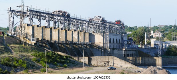 Hydroelectric power plant at river Dniester near Dubasari, Moldova. High resolution panorama