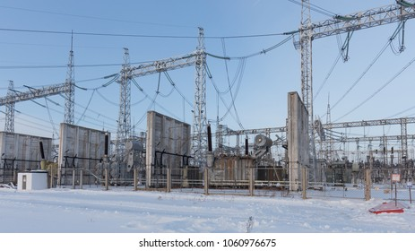 Hydroelectric power station. Bratsk, Siberia, Russia. Transformer.
