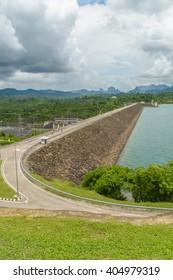 Hydroelectric power station on Cheow Lan Dam (Ratchaprapha Dam) in Thailand(Un-focus image)