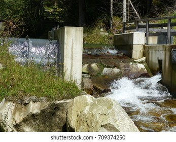 Hydroelectric power station on the mountain river Feistritzbach. Styria, Austria