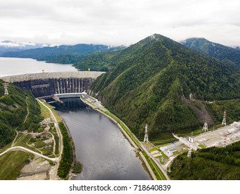 Hydroelectric power station on the Yenisei River in Siberia. Sayano-Shushenskaya Dam from aerial view