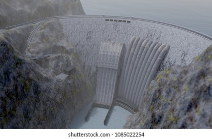 hydroelectric power station plant, 3d illustration