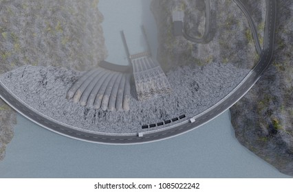 hydroelectric power station plant top view, 3d illustration